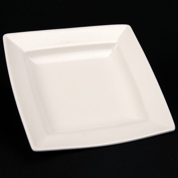 square white china hire plate