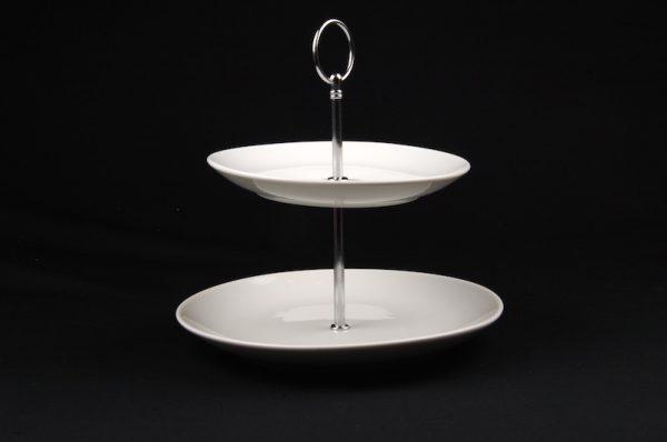 2 TIER WHITE CHINA CAKE STAND (ROUND)